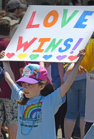 Nine year old Isabella Karaganis marches with her LOVE WINS sign.<br /> <br /> Photo by joebrownphotos.com