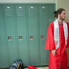 Kyle Zegel waits in the hallway for graduation ceremonies to start at Masconomet Regional High School graduation, Friday, June 3rd, 2016. JARED CHARNEY/Photo.<br /> June 3, 2016