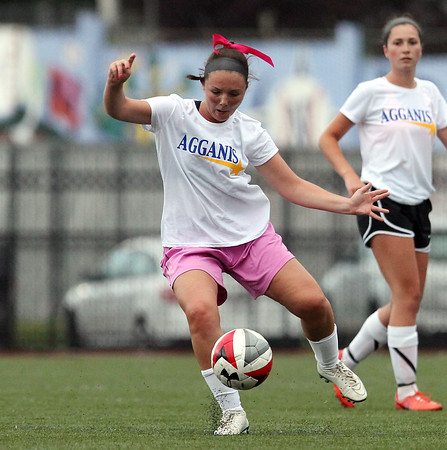 DAVID LE/Staff photo. Hamilton-Wenham's Molly Eagar controls the ball while playing for the South in the annual Agganis Girls Soccer game at Manning Field in Lynn on Tuesday. 6/28/16.