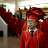 PAUL BILODEAU/Staff photo. First in his class and first in line, William Phu, waits to enter the ceremony during Salem High School's graduation ceremony in the high school's field house.