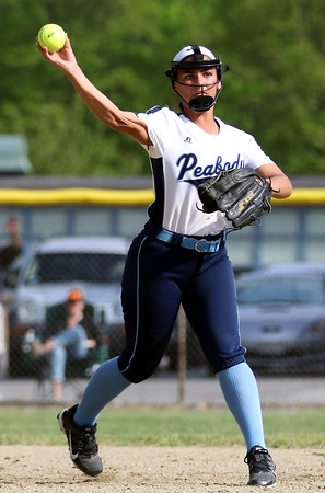 DAVID LE/Staff photo. Peabody shortstop Alyssa Alperen fires across the diamond to retire a Beverly runner. 5/25/16.