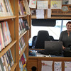 DAVID LE/Staff photo. Longtime Beverly Bookmobile Librarian Linda Carvaggio is retiring from driving the Bookmobile after over twenty years. 6/21/16.