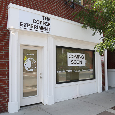 DAVID LE/Staff photo. The new location for The Coffee Experiment, which is owned by Jaho Coffee and Tea owner Anil Menzini, will be opening shortly on Main Street in Downtown Peabody. 6/23/16.