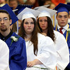 DAVID LE/Staff photo. Danvers graduates listen to classmate Tre Crittendon's speech on Saturday afternoon. 6/11/16.