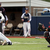 DAVID LE/Staff photo. North Andover catcher Patrick Agri, right, has to wait for a throw up the third base line as Danvers sophomore Tommy Mento (2) slides home safely with a Falcons run. 6/9/16.