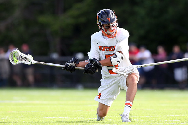 DAVID LE/Staff photo. Beverly junior Sam Abate releases a low shot against Winchester in the D2 North Final. 6/10/16.