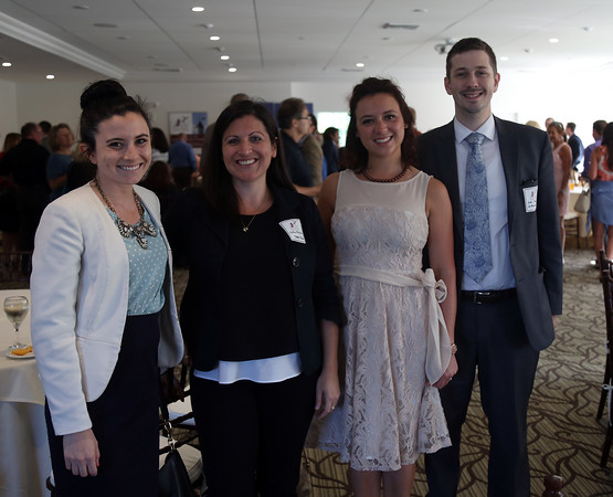 DAVID LE/Staff photo. From left, Jen Pollio, of Wylie Inn, Colby Magliaro, of Tupper Manor, and Jennifer and Jacob Snyder of Snyder Law Firm, at a multi-chamber after hours networking event held at the recently renovated Ferncroft Country Club in Middleton on Thursday afternoon. 6/30/16.