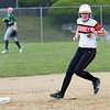 HADLEY GREEN/ Staff photo<br /> Beverly's Molly Pierce (10) runs to second base at the Beverly v. Billerica Division 1 North first round playoff game at the Innocenti Field in Beverly. 6/03/17