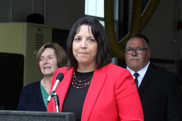 AMY SWEENEY/Staff photo. Salem Mayor Kim Driscoll speaks on behalf of the city during the dedication of the Joseph A. O'Keefe, Sr. Fire Station.  It was dedication on June 17, 2017.