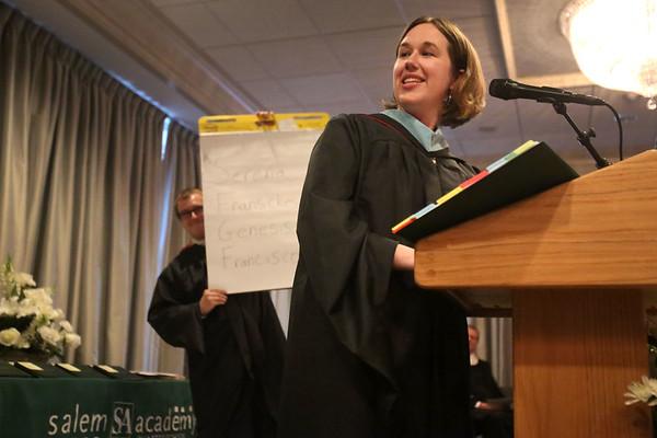 HADLEY GREEN/ Staff photo<br /> Faculty speaker Carolyn Herman gave an animated speech at the Salem Academy Charter School graduation ceremony. 6/16/17