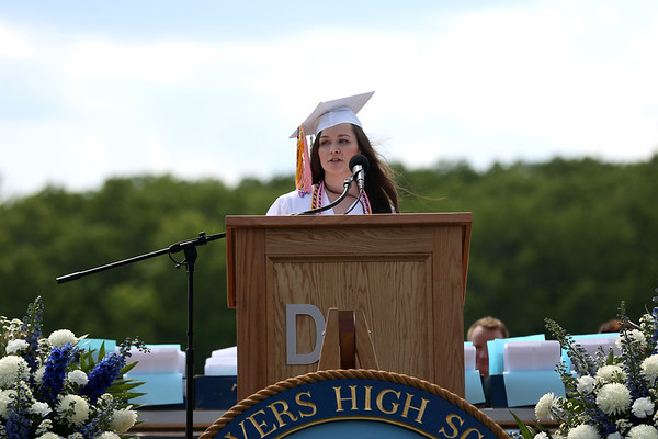 HADLEY GREEN/ Staff photo<br /> Valedictorian Jessica Boutchie speaks at the Danvers High School graduation ceremony at Danvers High. 6/10/17