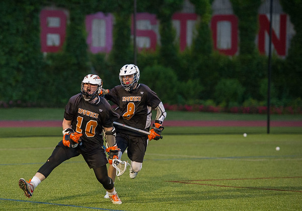 Ipswich's Pat Gillis (10) and Kilian Morrissey (8) celebrate after scoring and tying the game in the fourth quarter.
