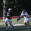 HADLEY GREEN/ Staff photo<br /> Ipswich's Billy Koshivas (2) sprints down the field while Hanover's Timothy Mullane (22) plays defense at the Ipswich v. Hanover boys lacrosse Division 3 state semifinals game at Norwell High School in Norwell, Massachusetts. 6/14/17