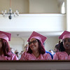 HADLEY GREEN/ Staff photo<br /> From left, Genna Chelsey of Ipswich, Marina Bron of Swampscott, and Yaimira Aldama of Beverly sit at the Northshore Recovery High School graduation ceremony held at the Second Congregational Church in Beverly. 6/07/17