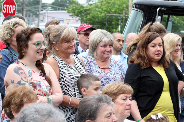 AMY SWEENEY/Staff photo. The late Joseph O'Keefe Sr.'s large extended family gathered together to attend the dedication of the Loring Ave. Fire Station in Salem, which is named after him. The building that houses Salem Fire Engine 5 was dedicated to Joseph O'Keefe, a beloved city official who died in September 2015. He had a long and celebrated tenure on City Council. O'Keefe also served as state fire marshal from 1977 to 1992.