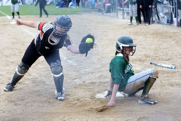 HADLEY GREEN/ Staff photo<br /> Beverly catcher Cori Coults (33) makes an out at home base at the Beverly v. Billerica Division 1 North first round playoff game at the Innocenti Field in Beverly. 6/03/17