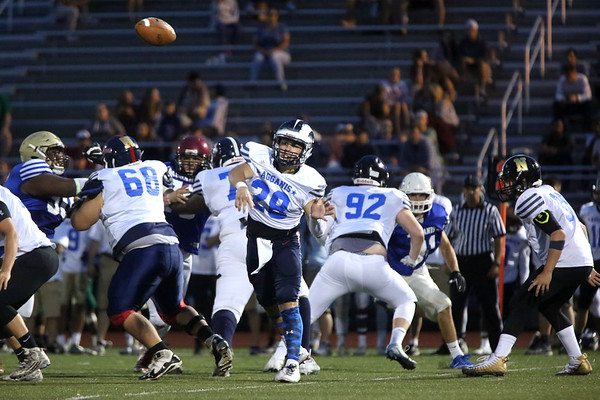 HADLEY GREEN/ Staff photo<br /> South's Eddie Sullivan (28) of Revere passes the ball at the Agganis boys football all-star game at the Manning Field in Lynn. 6/28/17