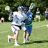 HADLEY GREEN/ Staff photo<br /> Hamilton-Wenham's Tommy Lattanzi (7) moves the ball at the Hamilton-Wenham v. Triton Division 3 North semifinals boys lacrosse game at Pingree. 6/07/17