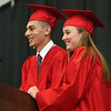 HADLEY GREEN/ Staff photo<br /> Class co-presidents Jared Lubas, left, and Sarah Starion, right, address their peers at the Salem High School graduation ceremony at the Salem High field house. 6/02/17