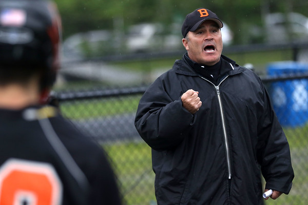 HADLEY GREEN/ Staff photo<br /> Beverly coach Jim LaSelva talks to his team during halftime at the Winchester v. Beverly Division 2 North semifinals boys lacrosse game at Knowlton Field in Winchester. 6/06/17