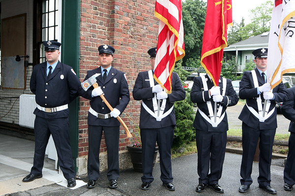 AMY SWEENEY/Staff photo. The Salem Department Honor Guard, attended the dedication of the Joseph A. O'Keefe, Sr., Fire Station. The building that houses Salem Fire Engine 5 was dedicated to Joseph O'Keefe, a beloved city official who died in September 2015. He had a long and celebrated tenure on City Council. O'Keefe also served as state fire marshal from 1977 to 1992.