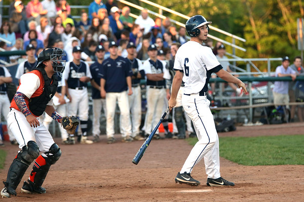 HADLEY GREEN/ Staff photo<br /> Danvers' Teddy Vallaincourt (6) looks up after hitting a foul at the Danvers v. Woburn Division 2 North first round state tournament baseball game held at the Twi Field in Danvers. 6/01/17