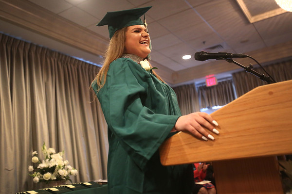 HADLEY GREEN/ Staff photo<br /> Student speaker Maria Raskin talks about her experience at the Salem Academy Charter School. 6/16/17