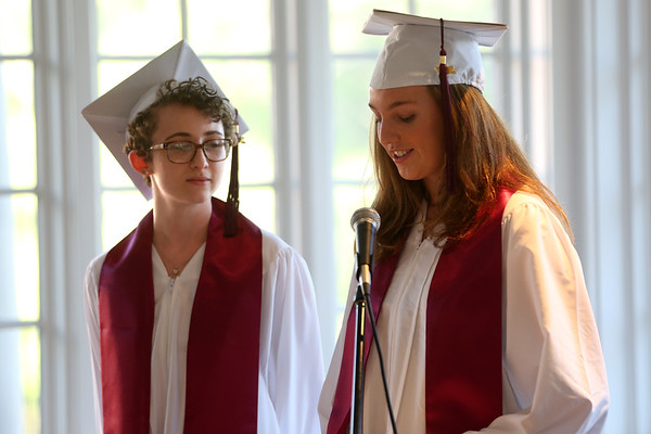 HADLEY GREEN/ Staff photo<br /> From left, Brooke Boucher of Beverly and Katherine Pasti of Newburyport speak at The Academy at Penguin Hall's graduation ceremony. 6/09/17