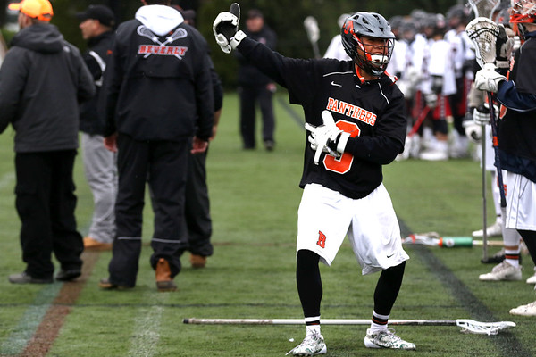 HADLEY GREEN/ Staff photo<br /> Beverly's Anh Kline (3) dances on the sideline after his team scores at the Winchester v. Beverly Division 2 North semifinals boys lacrosse game at Knowlton Field in Winchester. 6/06/17