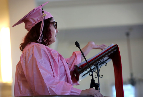 HADLEY GREEN/ Staff photo<br /> Marina Bron of Swampscott addresses her classmates at the Northshore Recovery High School graduation ceremony held at the Second Congregational Church in Beverly. 6/07/17