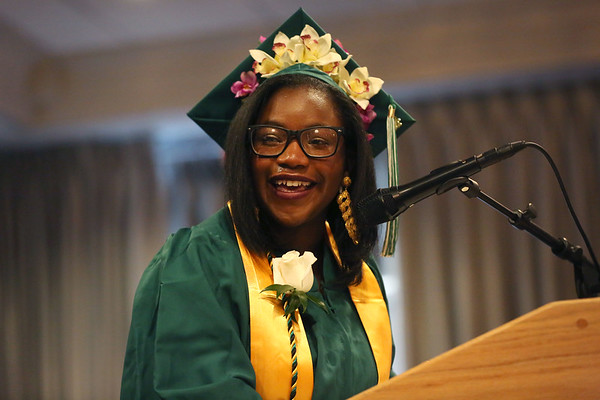 HADLEY GREEN/ Staff photo<br /> Valedictorian Sia-Linda Lebbie laughs through tears while addressing her class at the Salem Academy Charter School graduation ceremony. 6/16/17