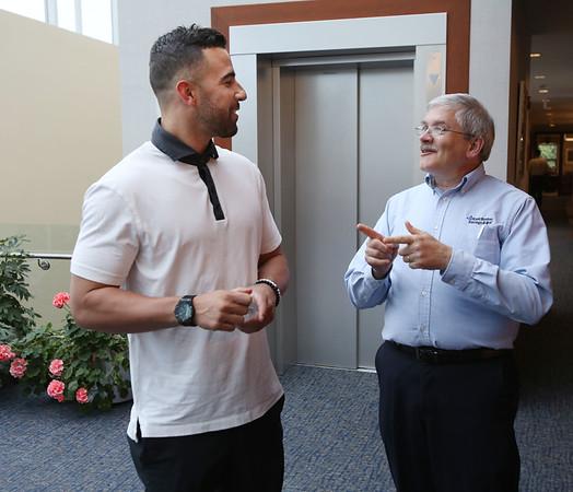 Red Sox infielder Deven Marrero visits East Boston Savings Bank