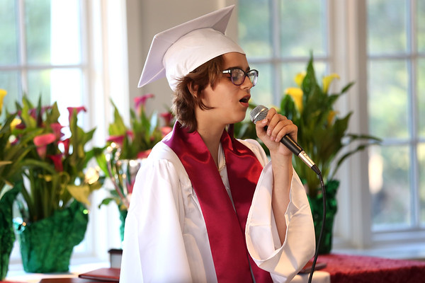 HADLEY GREEN/ Staff photo<br /> Graduating senior Melody Costa of Salem sings at The Academy at Penguin Hall's inaugural graduation ceremony. 6/09/17