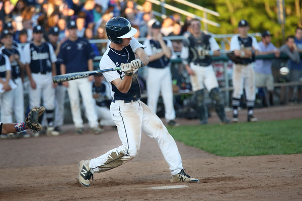 HADLEY GREEN/ Staff photo<br /> Danvers' Max Paul (4) goes up to bat at the Danvers v. Woburn Division 2 North first round state tournament baseball game held at the Twi Field in Danvers. 6/01/17