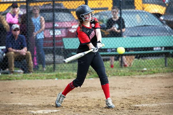 Staff photo/ HADLEY GREEN<br /> Marblehead's Emma Ferante (6) goes up to bat. <br /> <br /> 06/08/2018