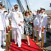 Staff photo/ HADLEY GREEN<br /> Capt. Stephen Cook and his wife, Laurie Cook, walk off the USS Constitution at the conclusion of the retirement ceremony. <br /> <br /> 06/29/2018