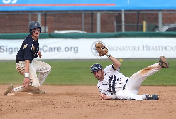 Staff photo/ HADLEY GREEN<br /> Patrick Kelly (3) of Archbishop Williams is safe at second as Hamilton-Wenham's Jake Lanciani (3) catches the ball during the Division 4 baseball state semifinals at Campanelli Stadium in Brockton.<br /> <br /> 06/20/2018