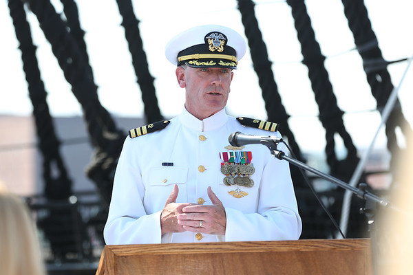 Staff photo/ HADLEY GREEN<br /> Commander James O'Leary welcomes guests to the USS Constitution for Salem native Capt. Stephen Cook's retirement ceremony from the U.S. Navy. <br /> <br /> 06/29/2018