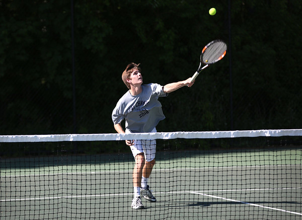 Staff photo/ HADLEY GREEN<br /> Hamilton-Wenham's Billy Whelan hits the ball at the Swampscott v. Hamilton-Wenham boys tennis match. <br /> <br /> 05/31/2018
