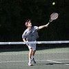 Staff photo/ HADLEY GREEN<br /> Hamilton-Wenham's Billy Whelan hits the ball at the Swampscott v. Hamilton-Wenham boys tennis match. <br /> <br /> 05/31/2018