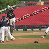 Staff photo/ HADLEY GREEN<br /> Archbishop Williams players celebrate after triumphing over Hamilton-Wenham in the Division 4 baseball state semifinals at Campanelli Stadium in Brockton.<br /> <br /> 06/20/2018