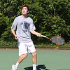 Staff photo/ HADLEY GREEN<br /> Hamilton-Wenham's Billy Whelan returns the ball during singles play at the Swampscott v. Hamilton-Wenham boys tennis match. <br /> <br /> 05/31/2018