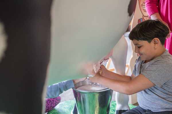 AMANDA SABGA/Staff photo<br /> <br /> Jasmil Gonzalez, 11, a student at Horace Mann Laboratory School milks a model cow while the Essex Agricultural Society hosts an Agriculture Day at the Topsfield fairgrounds.<br /> <br /> 6/6/18