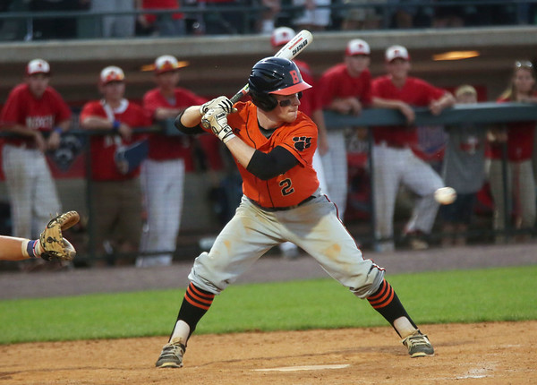 Staff photo/ HADLEY GREEN<br /> With two outs in the seventh inning, Beverly's Tim McCarthy (2) lines up his swing in the Division 2 state championship at LeLacheur Park in Lowell.<br /> <br /> 06/21/2018