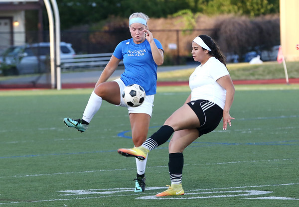 Staff photo/ HADLEY GREEN<br /> North's Ava Hoog (6) of Ipswich controls the ball at the Agganis girls soccer all-star game.<br /> <br /> 06/26/2018