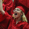 Staff photo/ HADLEY GREEN<br /> Jessica Cyr cheers on her classmates at the Salem High School graduation ceremony. <br /> <br /> 06/01/2018