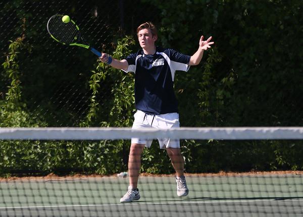 Staff photo/ HADLEY GREEN<br /> Hamilton-Wenham's Nick Greco returns the ball during singles play at the Swampscott v. Hamilton-Wenham boys tennis match. <br /> <br /> 05/31/2018