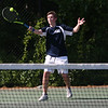 Staff photo/ HADLEY GREEN<br /> Hamilton-Wenham's Nick Greco returns the ball during singles play at the Swampscott v. Hamilton-Wenham boys tennis match. <br /> <br /> 05/31/2018