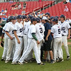 Staff photo/ HADLEY GREEN<br /> Hoping for a comeback, The Generals cheer before beginning the sixth inning of their game against Archbishop Williams in the Division 4 state semifinals at Campanelli Stadium in Brockton.<br /> <br /> 06/20/2018