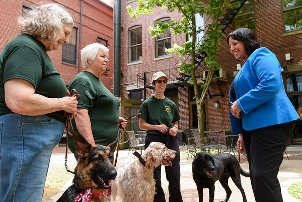 Dogs from Old Colony obedience club visit with the mayor